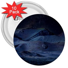 Landscape Night Lunar Sky Scene 3  Buttons (10 Pack)