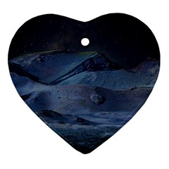 Landscape Night Lunar Sky Scene Heart Ornament (two Sides) by Celenk