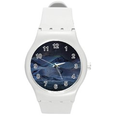 Landscape Night Lunar Sky Scene Round Plastic Sport Watch (m) by Celenk