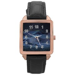 Landscape Night Lunar Sky Scene Rose Gold Leather Watch  by Celenk
