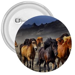 Horses Stampede Nature Running 3  Buttons by Celenk