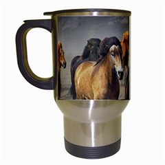Horses Stampede Nature Running Travel Mugs (white)