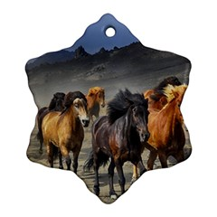 Horses Stampede Nature Running Snowflake Ornament (two Sides)