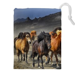 Horses Stampede Nature Running Drawstring Pouches (xxl) by Celenk