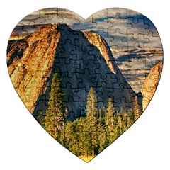 Mountains Landscape Rock Forest Jigsaw Puzzle (heart) by Celenk