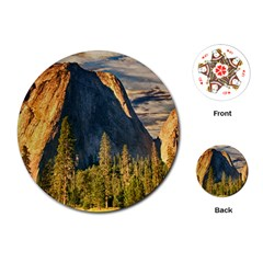 Mountains Landscape Rock Forest Playing Cards (round)  by Celenk