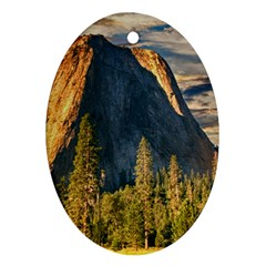 Mountains Landscape Rock Forest Oval Ornament (two Sides)