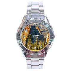 Mountains Landscape Rock Forest Stainless Steel Analogue Watch by Celenk