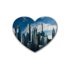 Skyscraper Cityline Urban Skyline Heart Coaster (4 Pack)
