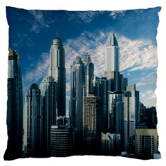 Skyscraper Cityline Urban Skyline Large Flano Cushion Case (two Sides) by Celenk