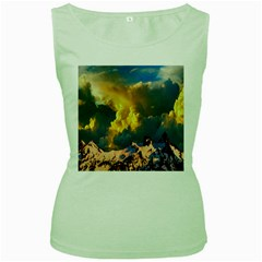 Mountains Clouds Landscape Scenic Women s Green Tank Top by Celenk