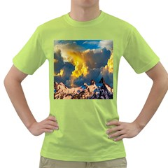 Mountains Clouds Landscape Scenic Green T Shirt