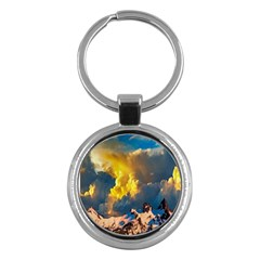 Mountains Clouds Landscape Scenic Key Chains (round)  by Celenk