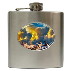 Mountains Clouds Landscape Scenic Hip Flask (6 Oz) by Celenk