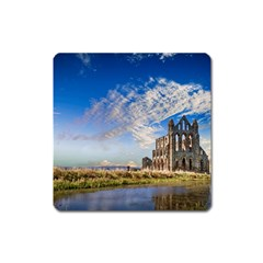 Ruin Church Ancient Architecture Square Magnet