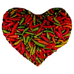 Chilli Pepper Spicy Hot Red Spice Large 19  Premium Flano Heart Shape Cushions by Celenk