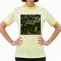 Backdrop Construction Pattern Women s Fitted Ringer T Shirts by Celenk