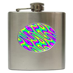 Lilac Yellow Wave Abstract Pattern Hip Flask (6 Oz) by Celenk
