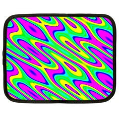 Lilac Yellow Wave Abstract Pattern Netbook Case (large) by Celenk