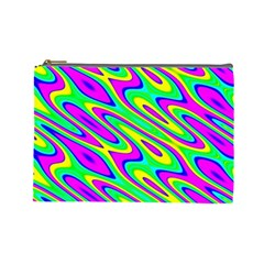 Lilac Yellow Wave Abstract Pattern Cosmetic Bag (large)