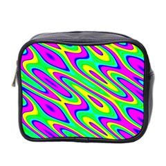 Lilac Yellow Wave Abstract Pattern Mini Toiletries Bag 2 Side by Celenk