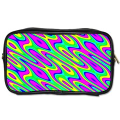 Lilac Yellow Wave Abstract Pattern Toiletries Bags by Celenk