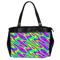 Lilac Yellow Wave Abstract Pattern Office Handbags (2 Sides)