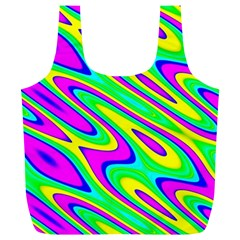 Lilac Yellow Wave Abstract Pattern Full Print Recycle Bags (l)  by Celenk