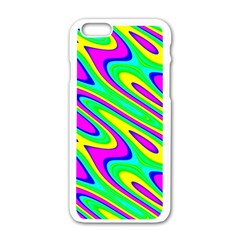 Lilac Yellow Wave Abstract Pattern Apple Iphone 6/6s White Enamel Case by Celenk
