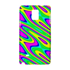 Lilac Yellow Wave Abstract Pattern Samsung Galaxy Note 4 Hardshell Case by Celenk