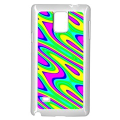 Lilac Yellow Wave Abstract Pattern Samsung Galaxy Note 4 Case (white) by Celenk