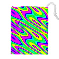 Lilac Yellow Wave Abstract Pattern Drawstring Pouches (xxl) by Celenk
