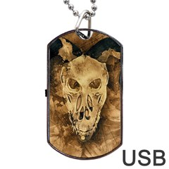 Skull Demon Scary Halloween Horror Dog Tag Usb Flash (two Sides) by Celenk