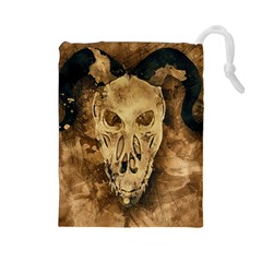 Skull Demon Scary Halloween Horror Drawstring Pouches (large)