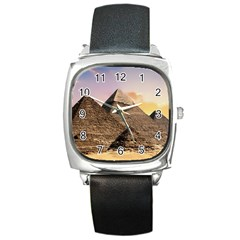 Pyramids Egypt Square Metal Watch