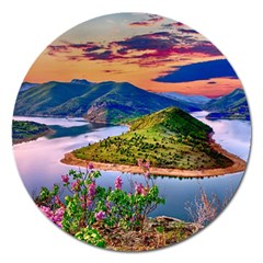 Landscape River Nature Water Sky Magnet 5  (round)
