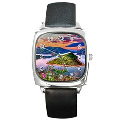 Landscape River Nature Water Sky Square Metal Watch by Celenk