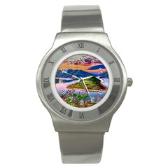 Landscape River Nature Water Sky Stainless Steel Watch