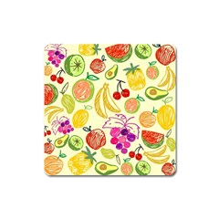 Cute Fruits Pattern Square Magnet by paulaoliveiradesign
