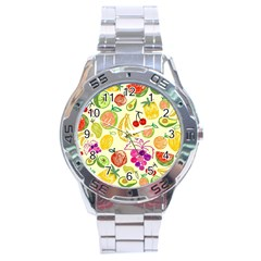 Cute Fruits Pattern Stainless Steel Analogue Watch by paulaoliveiradesign