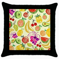 Cute Fruits Pattern Throw Pillow Case (black) by paulaoliveiradesign