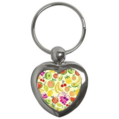 Cute Fruits Pattern Key Chains (heart)  by paulaoliveiradesign