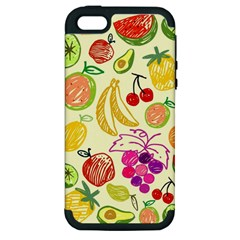 Cute Fruits Pattern Apple Iphone 5 Hardshell Case (pc+silicone) by paulaoliveiradesign
