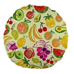 Cute Fruits Pattern Large 18  Premium Round Cushions by paulaoliveiradesign