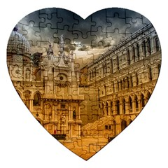 Palace Monument Architecture Jigsaw Puzzle (heart) by Celenk