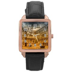 Palace Monument Architecture Rose Gold Leather Watch  by Celenk