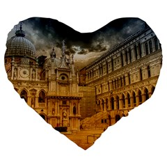 Palace Monument Architecture Large 19  Premium Flano Heart Shape Cushions by Celenk