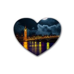 London Skyline England Landmark Heart Coaster (4 Pack)  by Celenk