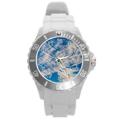Clouds Sky Scene Round Plastic Sport Watch (l) by Celenk