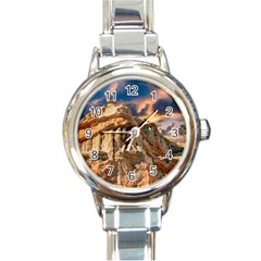 Canyon Dramatic Landscape Sky Round Italian Charm Watch by Celenk